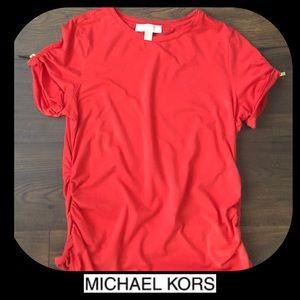 [MICHAEL KORS] MK • coral top w/ gold zipper